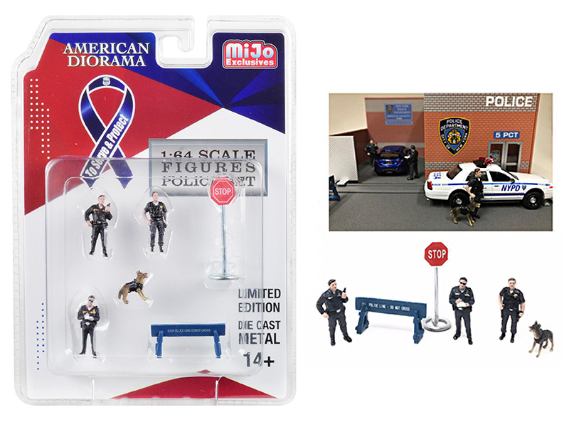 Police 6 piece Diecast Set 3 Figurines 1 Dog 2 Accessories for 1/64 Scale Models American Diorama 38402