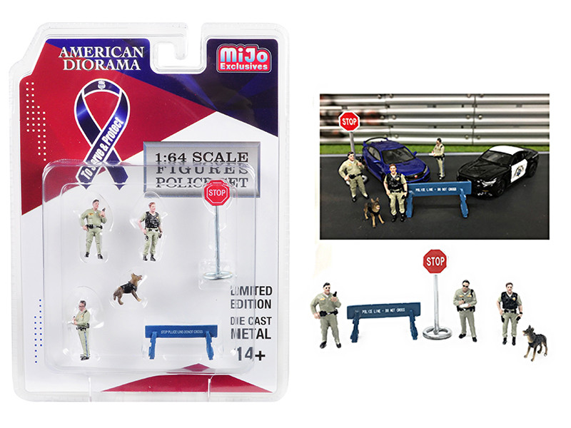 Highway Police 6 piece Diecast Set 3 Figurines 1 Dog 2 Accessories for 1/64 Scale Models American Diorama 38403