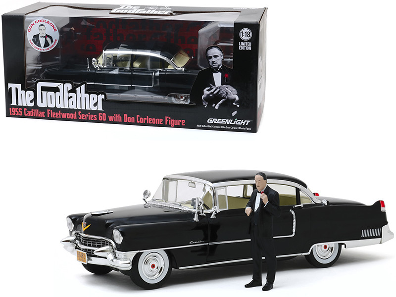 1955 Cadillac Fleetwood Series 60 Black Don Corleone Figure The Godfather 1972 Movie 1/18 Diecast Model Car Greenlight 13531