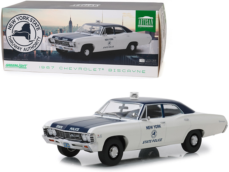 1967 Chevrolet Biscayne Cream Blue New York State Police 1/18 Diecast Model Car Greenlight 19054