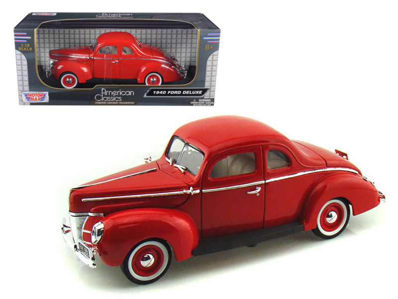 1940 Ford Deluxe Red 1/18 Diecast Model Car Motormax 73108