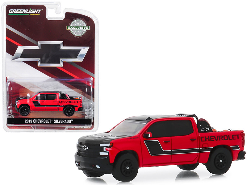 2019 Chevrolet Silverado Pickup Truck Red Black Safety Equipment in Truck Bed Hobby Exclusive 1/64 Diecast Model Car Greenlight 30087