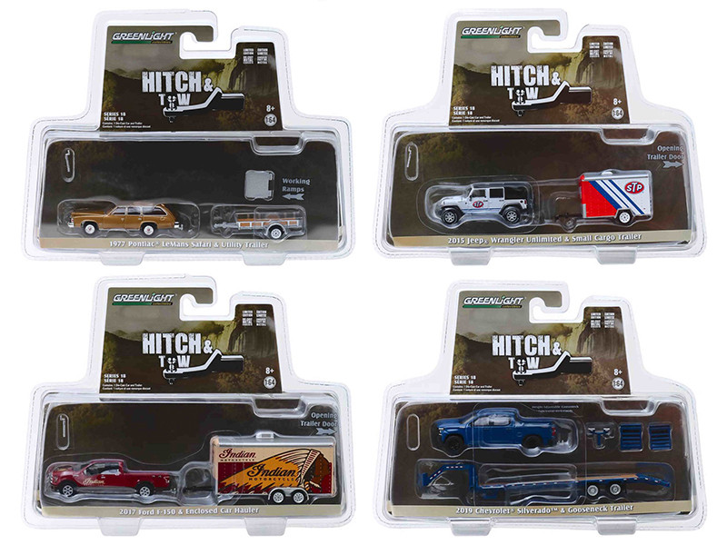 Hitch & Tow Series 18 Set 4 pieces 1/64 Diecast Model Cars Greenlight 32180
