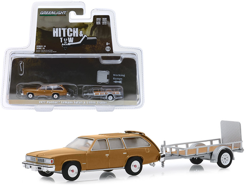 1977 Pontiac LeMans Safari Gold and Utility Trailer Hitch & Tow Series 18 1/64 Diecast Model Car Greenlight 32180 A