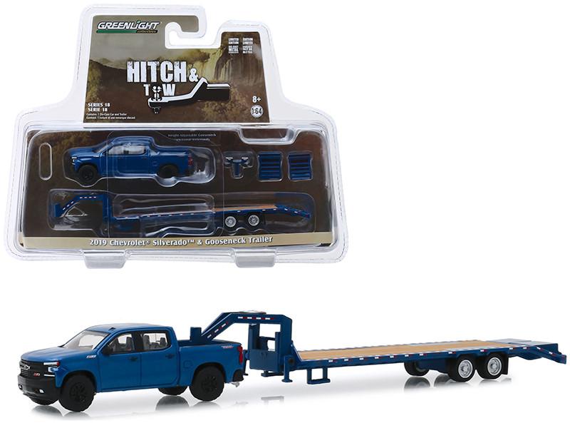 2019 Chevrolet Silverado Pickup Truck Dark Blue Trail Boss and Gooseneck Trailer Hitch & Tow Series 18 1/64 Diecast Model Car Greenlight 32180 D