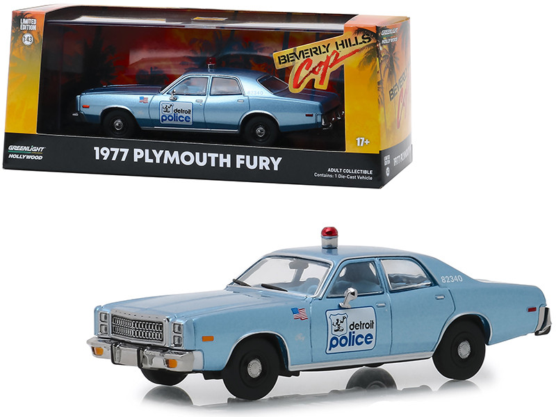 1977 Plymouth Fury Blue Detroit Police Beverly Hills Cop 1984 Movie 1/43 Diecast Model Car Greenlight 86565