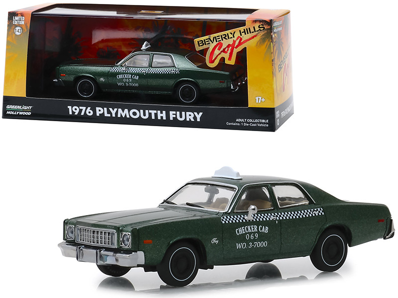 1976 Plymouth Fury Taxi Checker Cab Metallic Green Beverly Hills Cop 1984 Movie 1/43 Diecast Model Car Greenlight 86566