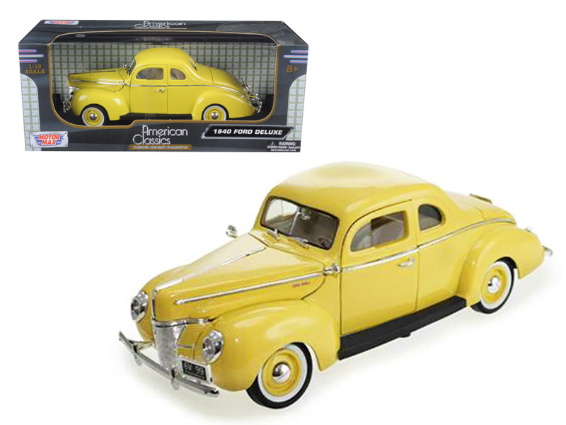 1940 Ford Coupe Deluxe Yellow 1/18 Diecast Car Model Motormax 73108