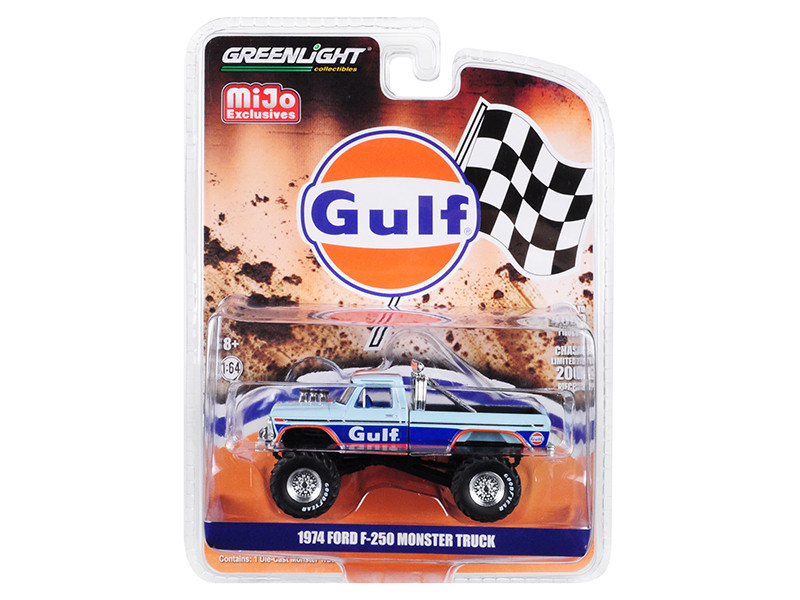 1974 Ford F-250 Monster Truck Gulf Blue Orange Stripes Limited Edition 4600 pieces Worldwide 1/64 Diecast Model Car Greenlight 51288