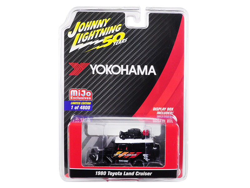 1980 Toyota Land Cruiser Black Accessories Geolandar Yokohama Johnny Lightning 50th Anniversary Limited Edition 4800 pieces Worldwide 1/64 Diecast Model Car Johnny Lightning JLCP7218