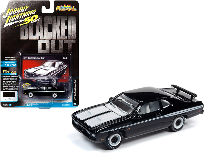 1971 Dodge Demon 340 Black White Stripes Blacked Out Johnny Lightning 50th Anniversary Limited Edition 3740 pieces Worldwide 1/64 Diecast Model Car Johnny Lightning JLSF014 JLCP7260 B