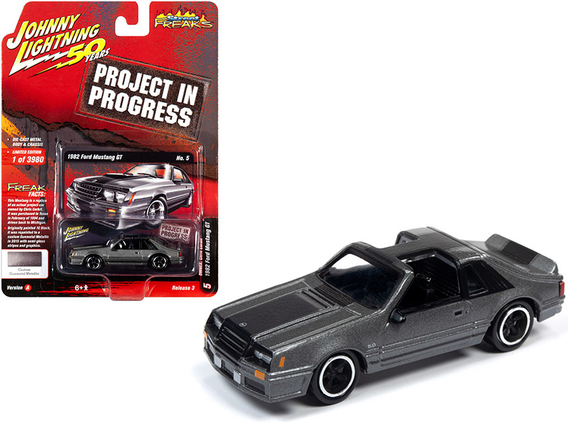 1982 Ford Mustang GT Gunmetal Gray Metallic Owner: Chris Corbit Project in Progress Johnny Lightning 50th Anniversary Limited Edition 3980 pieces Worldwide 1/64 Diecast Model Car Johnny Lightning JLSF014 JLCP7261 A
