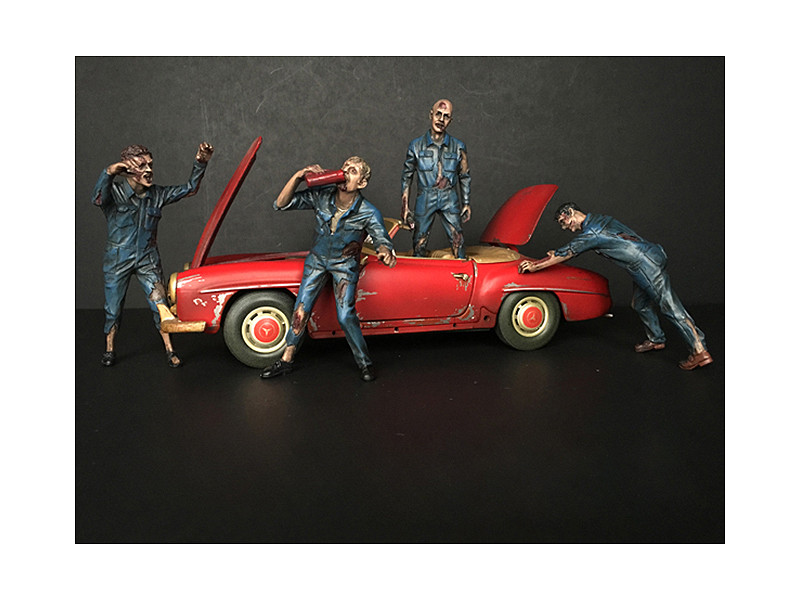 Zombie Mechanics 4 Piece Figurine Set Got Zombies?? for 1/18 Scale Models American Diorama 38197 38198 38199 38200