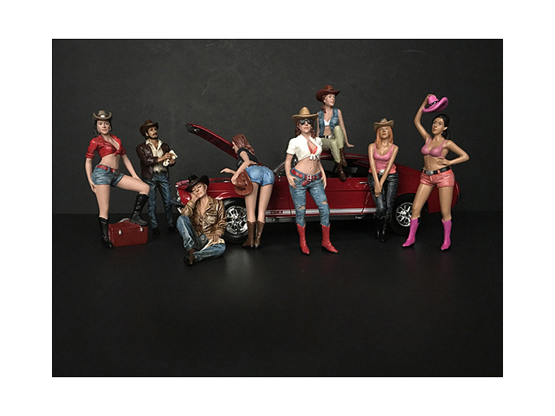 The Western Style 8 piece Figurine Set for 1/18 Scale Models American Diorama 38201 38202 38203 38204 38205 38206 38207 38208