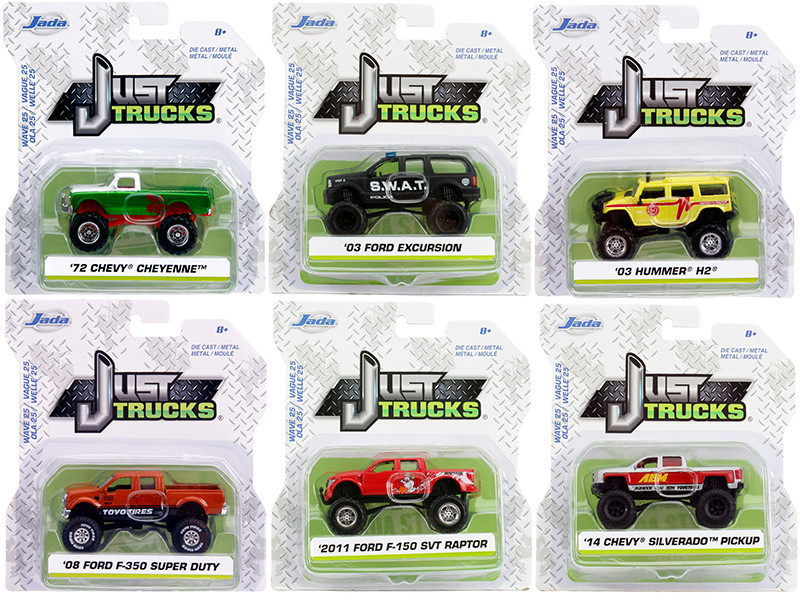 Just Trucks Set of 6 Trucks Series 25 1/64 Diecast Model Cars Jada 14020-W25