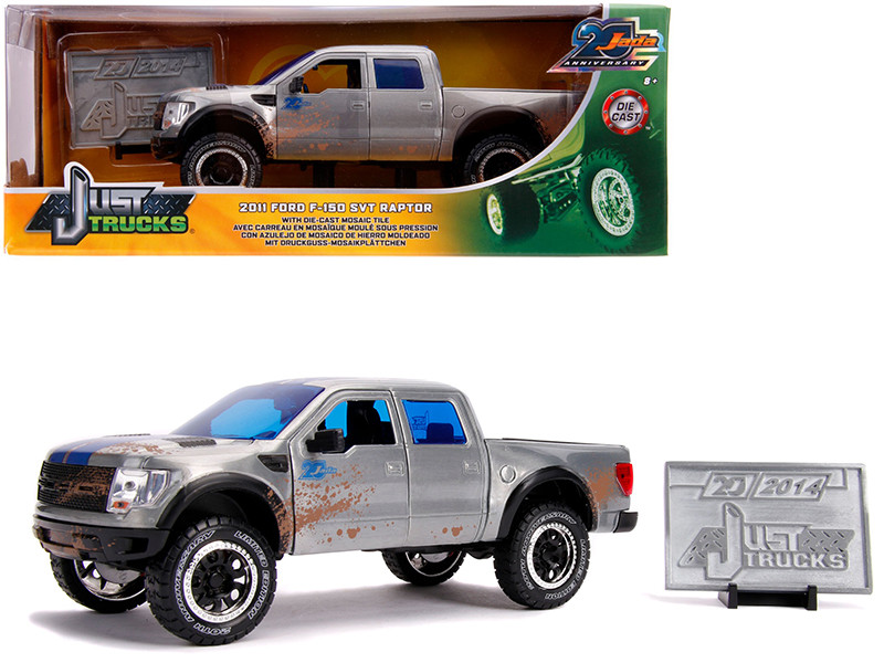 2011 Ford F-150 SVT Raptor Pickup Truck Raw Metal Blue Stripes Dirty Version Just Trucks Jada 20th Anniversary 1/24 Diecast Model Car Jada 31086