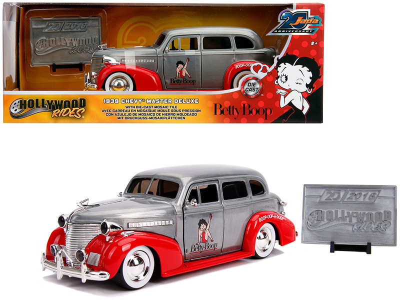 1939 Chevrolet Master Deluxe Raw Metal Red Betty Boop Hollywood Rides Jada 20th Anniversary 1/24 Diecast Model Car Jada 31091