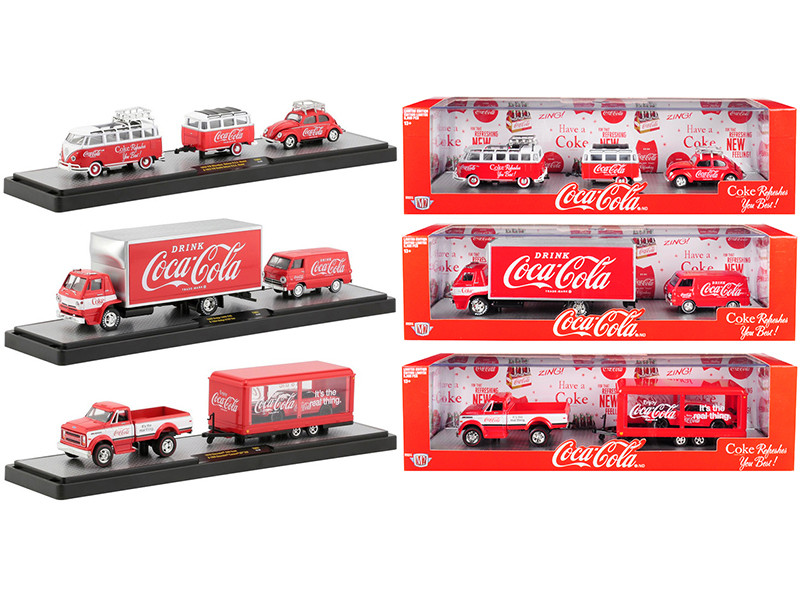 Auto Haulers Coca Cola Set of 3 pieces Great Release Limited Edition 5880 pieces Worldwide 1/64 Diecast Models M2 Machines 56000-TW01