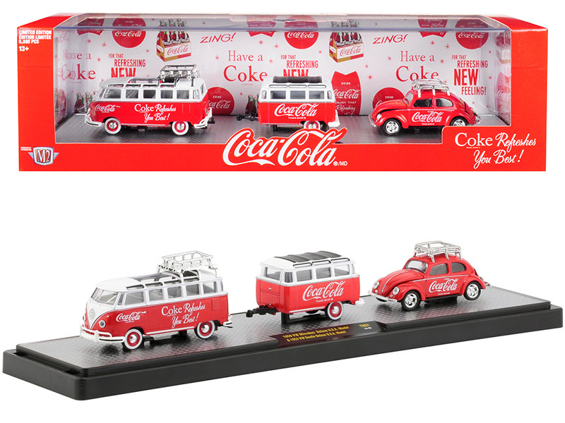 1959 Volkswagen Microbus Deluxe USA Model Roof Rack Coke Red White Top Trailer 1953 Volkswagen Beetle Deluxe USA Model Coke Red Roof Rack Coca Cola Set Limited Edition 5880 pieces Worldwide 1/64 Diecast Models M2 Machines 56000-TW01