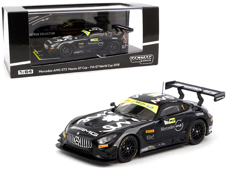 Mercedes AMG GT3 Edoardo Mortara 3rd Place Macau GT Cup FIA GT World Cup 2018 1/64 Diecast Model Car Tarmac Works T64-008-18MGP01