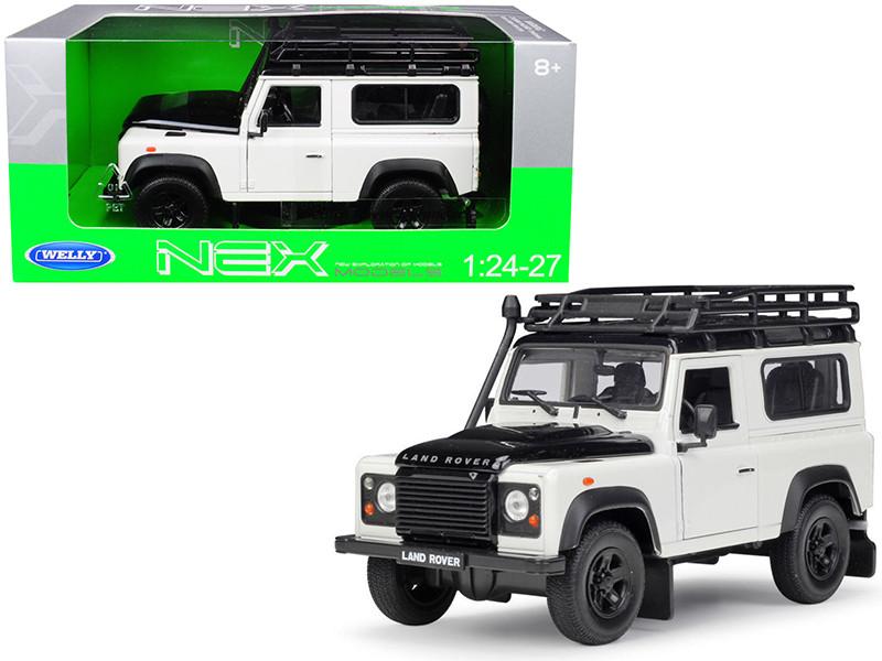 Land Rover Defender Roof Rack White Black 1/24 1/27 Diecast Model Car Welly 22498