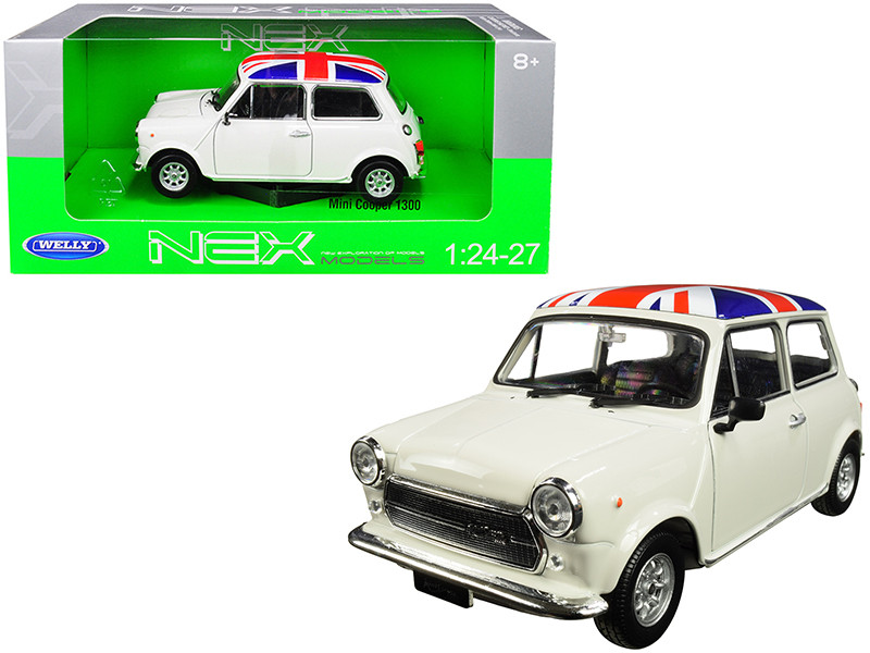Mini Cooper 1300 White British Flag Roof 1/24 1/27 Diecast Model Car Welly 22496