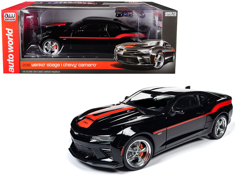 2018 Chevrolet Camaro Yenko/SC Stage I Coupe Black Orange Stripes Limited Edition 300 pieces Worldwide 1/18 Diecast Model Car Autoworld AW257