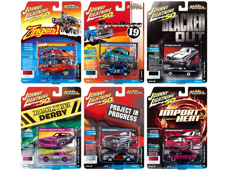 Street Freaks 2019 Release 3 Set B of 6 Cars 1/64 Diecast Models Johnny Lightning JLSF014 B