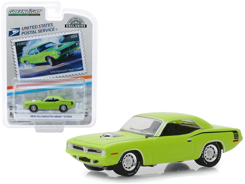 1970 Plymouth HEMI 'Cuda Lime Green USPS Stamps 2013 United States Postal Service America on the Move Muscle Cars Hobby Exclusive 1/64 Diecast Model Car Greenlight 30069