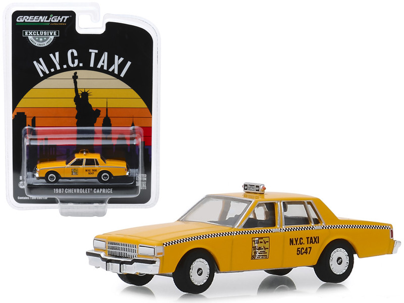 1987 Chevrolet Caprice Yellow N.Y.C. Taxi New York City Taxi Hobby Exclusive 1/64 Diecast Model Car Greenlight 30077
