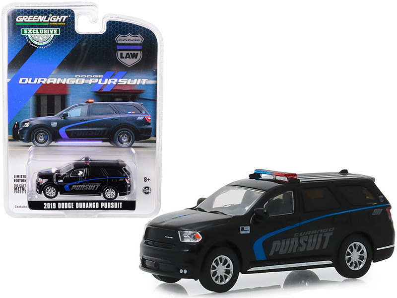 2019 Dodge Durango Pursuit Police SUV Black Hobby Exclusive 1/64 Diecast Model Car Greenlight 30098