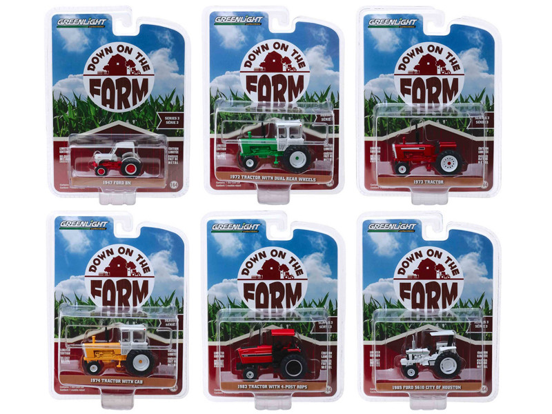 Down on the Farm Series 3 Set of 6 pieces 1/64 Diecast Models Greenlight 48030