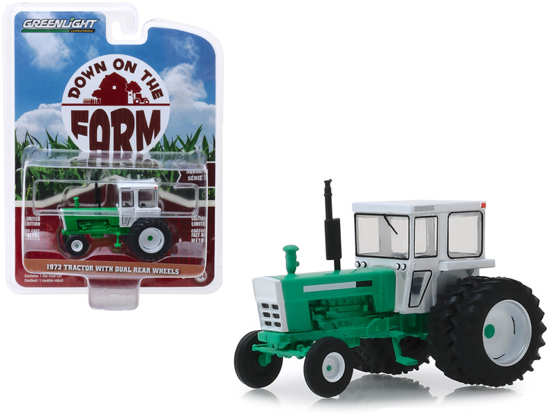 1972 Tractor with Dual Rear Wheels White Green Down on the Farm Series 3 1/64 Diecast Model Greenlight 48030 B