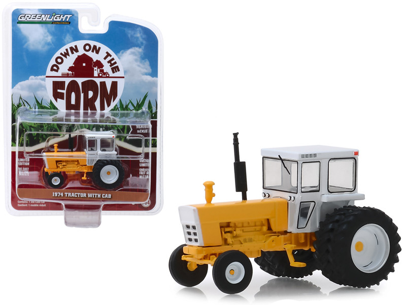 1974 Tractor with Cab White Yellow Down on the Farm Series 3 1/64 Diecast Model Greenlight 48030 D