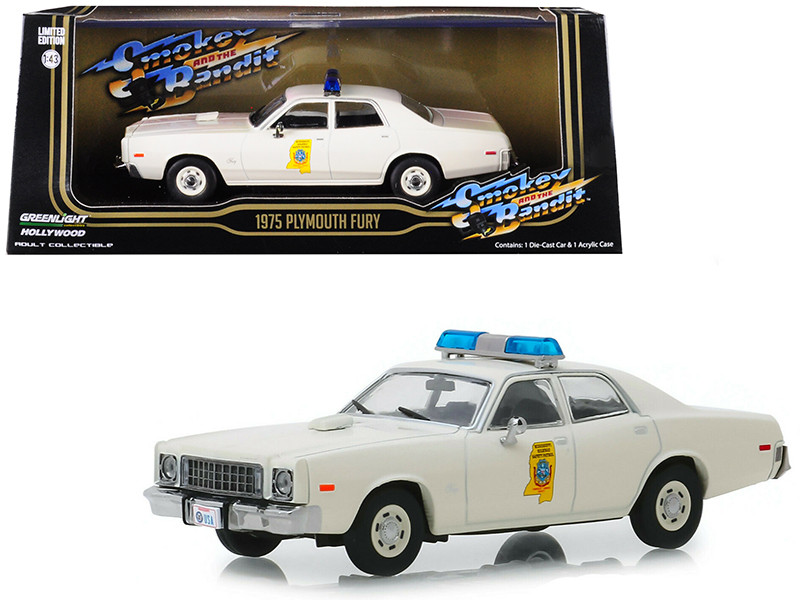 1975 Plymouth Fury Mississippi Highway Patrol Cream Smokey and the Bandit 1977 Movie 1/43 Diecast Model Car Greenlight 86557