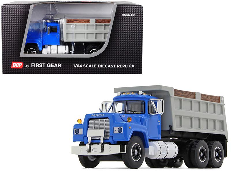 Mack R Dual Axle Dump Truck Blue Gray Body 1/64 Diecast Model DCP First Gear 60-0580