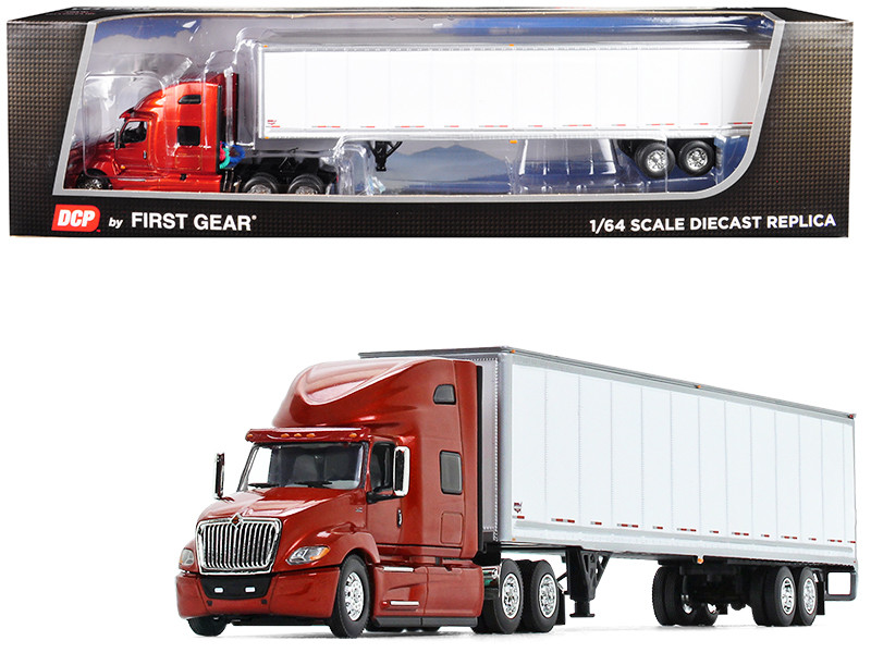 International LT High Roof Sleeper Cab 53' Wabash DuraPlate Dry Goods Trailer Red White 1/64 Diecast Model DCP First Gear 60-0639