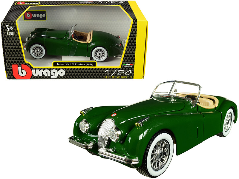 1951 Jaguar XK 120 Roadster Green 1/24 Diecast Model Car Bburago 22018