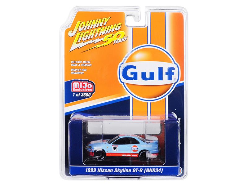 1999 Nissan Skyline GT-R BNR34 Gulf Oil Johnny Lightning 50th Anniversary Limited Edition 3600 pieces Worldwide 1/64 Diecast Model Car Johnny Lightning JLCP7237