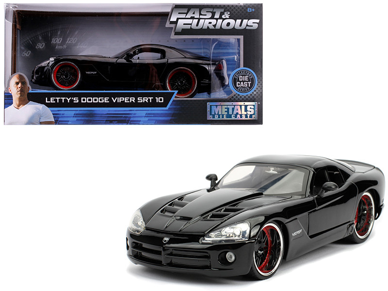 Letty's Dodge Viper SRT 10 Black Fast & Furious Movie 1/24 Diecast Model Car Jada 30731