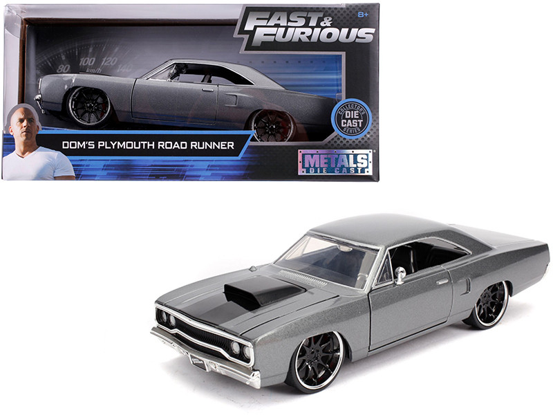 Dom's Plymouth Road Runner Metallic Gray Black Hood Stripe Fast & Furious Movie 1/24 Diecast Model Car Jada 30745