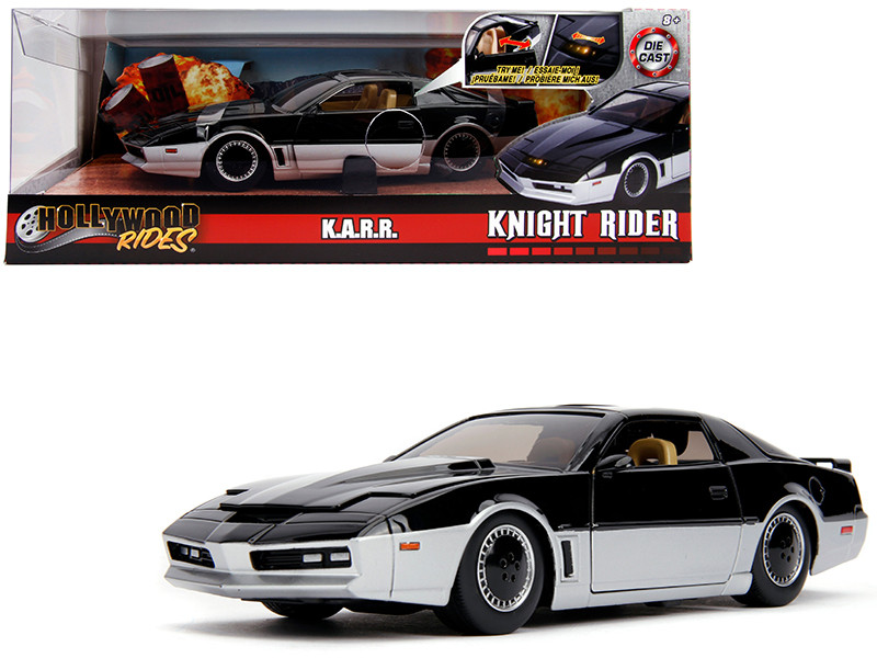 KARR Black Silver with Light Knight Rider 1982 TV Series Hollywood Rides Series 1/24 Diecast Model Car Jada 31115
