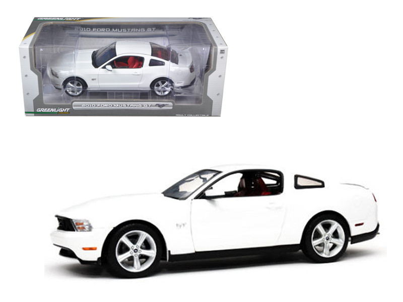 2010 Ford Mustang GT Coupe Performance White with Brich Red Interior With Cashmere White Seat Stripes 1/18 Diecast Car Model Greenlight 12814