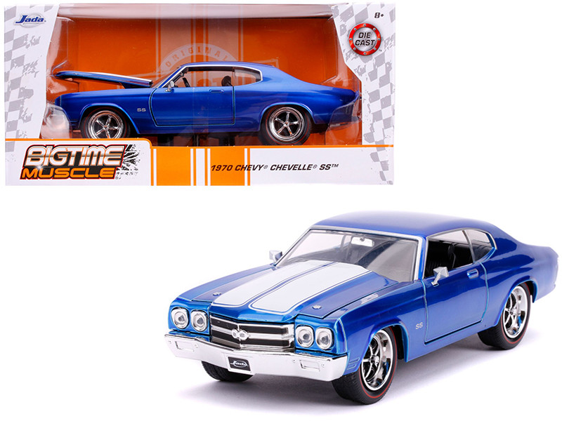 1970 Chevrolet Chevelle SS Candy Blue White Stripes Bigtime Muscle 1/24 Diecast Model Car Jada 31450