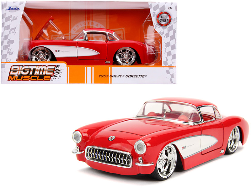 1957 Chevrolet Corvette Red Red Interior Bigtime Muscle 1/24 Diecast Model Car Jada 31451
