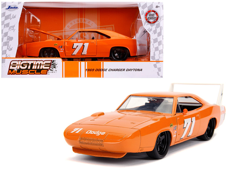 1969 Dodge Charger Daytona #71 Metallic Orange Bigtime Muscle 1/24 Diecast Model Car Jada 31453