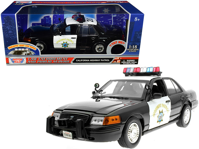 Ford Crown Victoria CHP California Highway Patrol Black White Flashing Light Bar Front Rear Lights Sound 1/18 Diecast Model Car Motormax 73993