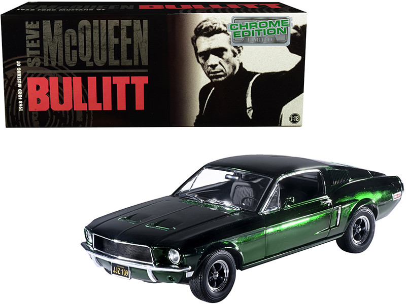 1968 Ford Mustang GT Green Chrome Edition Steve McQueen Bullitt 1968 Movie 1/18 Diecast Model Car Greenlight 12823