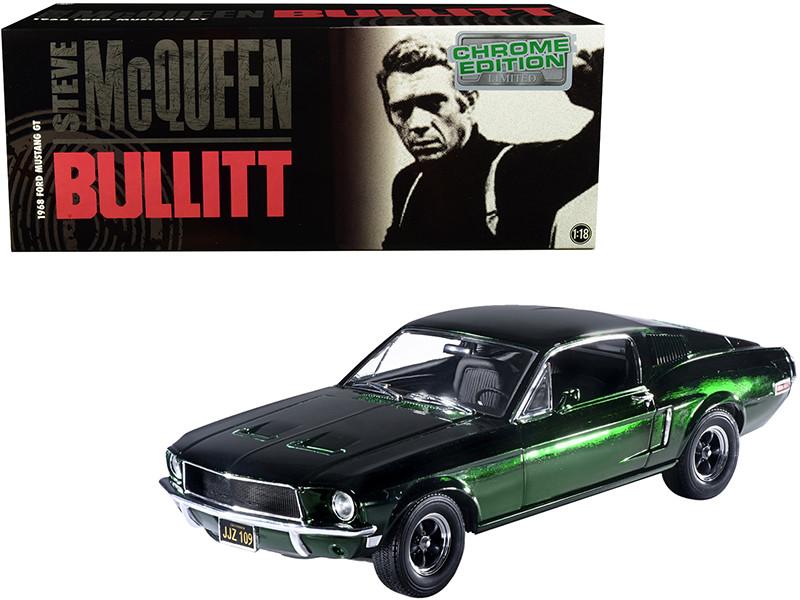 1968 Ford Mustang GT Green Chrome Edition Steve McQueen Bullitt 1968 Movie 1/18 Diecast Model Car Greenlight 12823