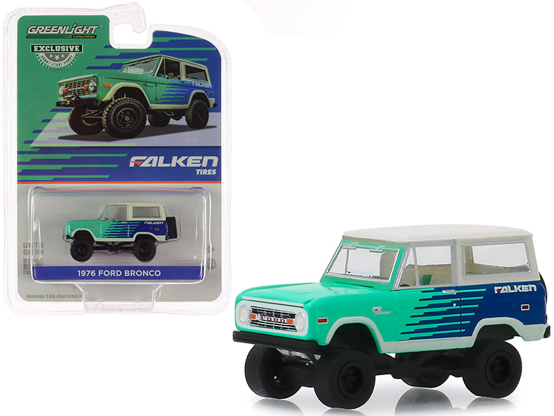 1976 Ford Bronco Falken Tires Hobby Exclusive 1/64 Diecast Model Car Greenlight 30080
